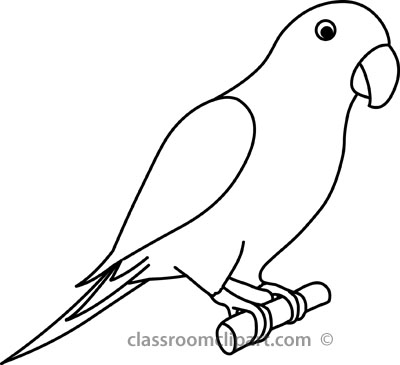400x365 Parrot Line Drawing Simple Parrot Drawing