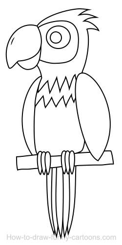 250x500 Drawing A Parrot Cartoon