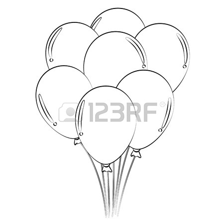 450x450 Black Outline Vector Balloons On White Background. Royalty Free
