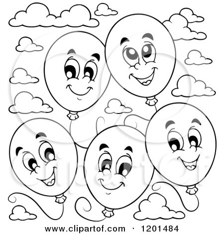 450x470 Cartoon Of A Group Of Floating Black And White Birthday Party