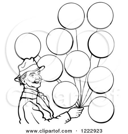 450x470 Clipart Of A Black And White Blank Sign And Party Balloons