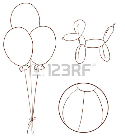 402x450 Illustration Of A Simple Drawing Of The Coloured Balloons