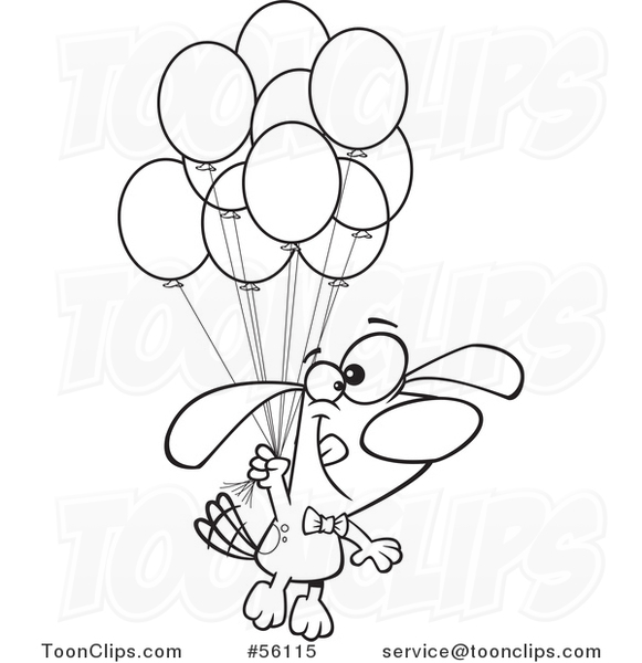 581x600 Outline Cartoon Dog Foating With A Bunch Of Party Balloons