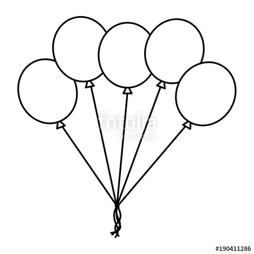 500x500 Bunch Balloons Decoration Ornament Party Vector Illustration