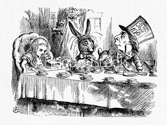 570x428 Alice In Wonderland Old Image Tea Party Drawing Vintage