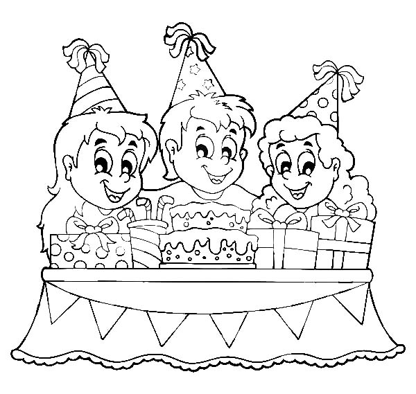 600x569 How To Draw Birthday Party Coloring Pages