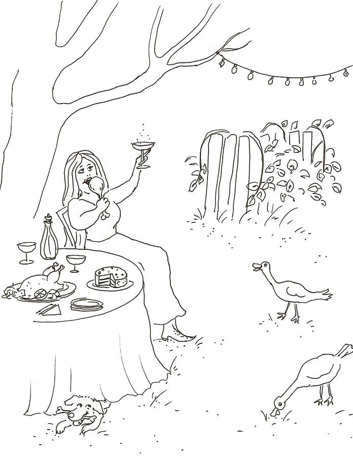 696x900 Party In The Garden Drawing By Vass Eva Rozsa