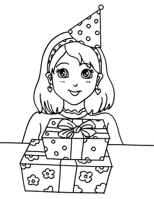 600x777 Preety Girl Birthday Party Coloring Pages