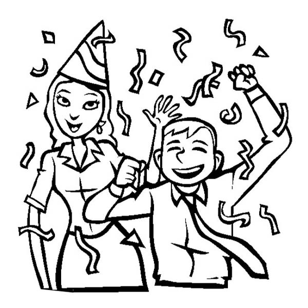 600x600 Two Office Worker On New Years Party Coloring Page