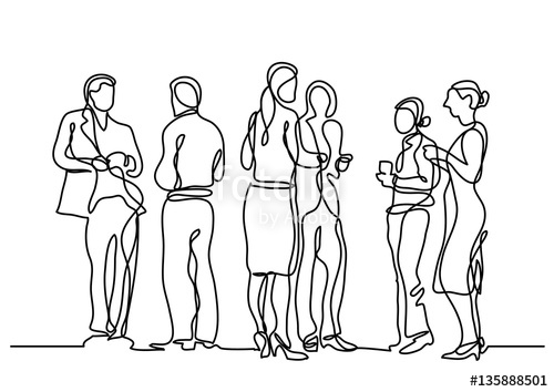 500x354 Continuous Line Drawing Of Office Party Stock Image And Royalty