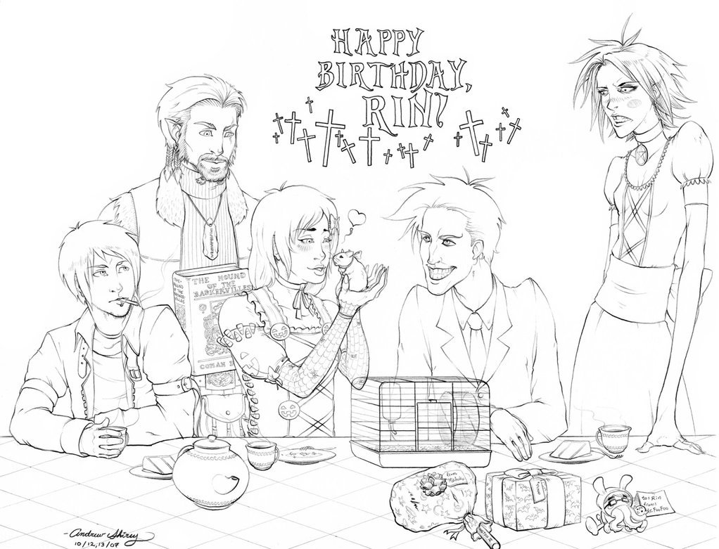 1022x781 Birthday Party Scene For Drawing Goth Birthday Party By