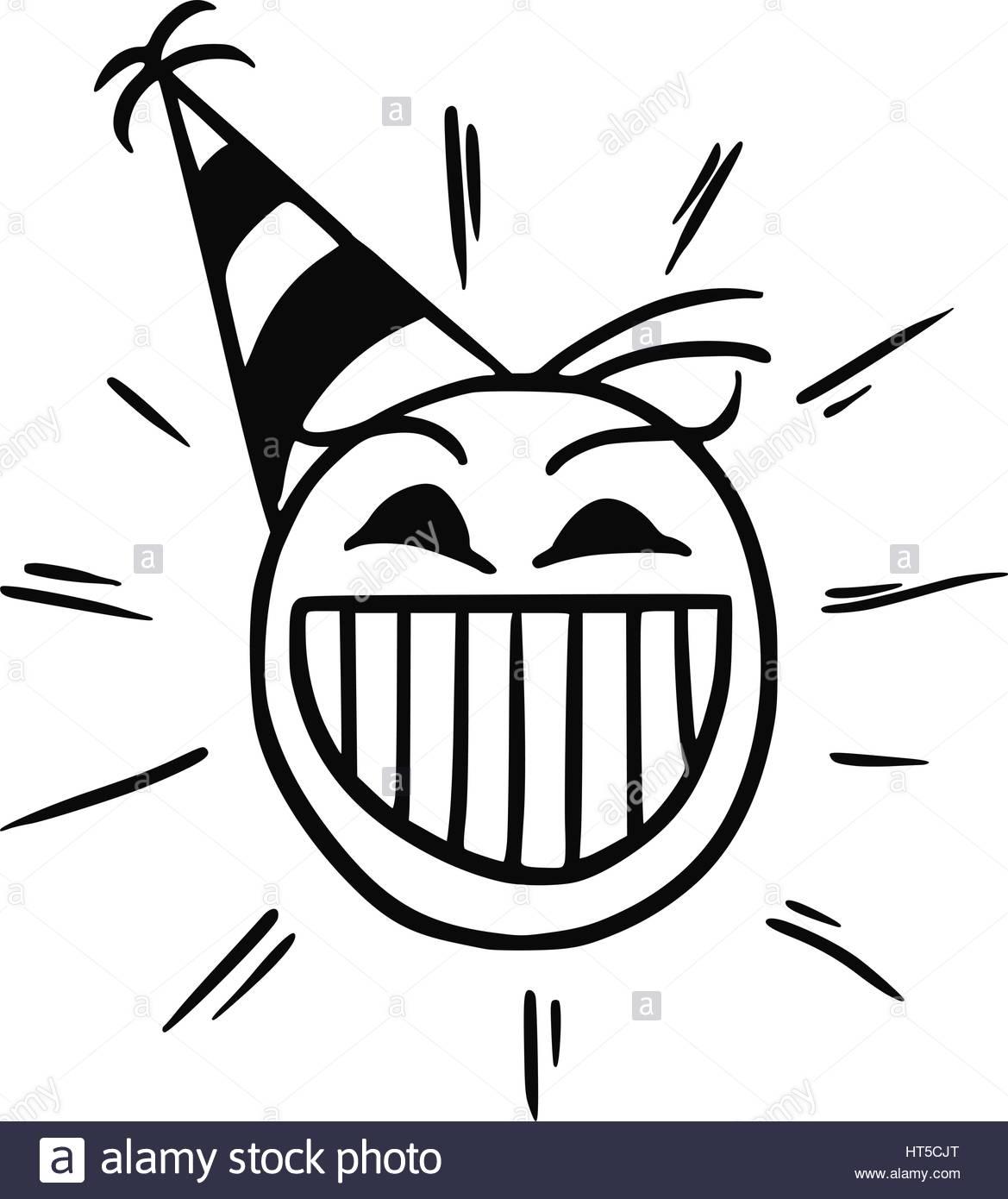 1169x1390 Cartoon Vector Stickman Happy Head With Party Hat Cap Stock Vector
