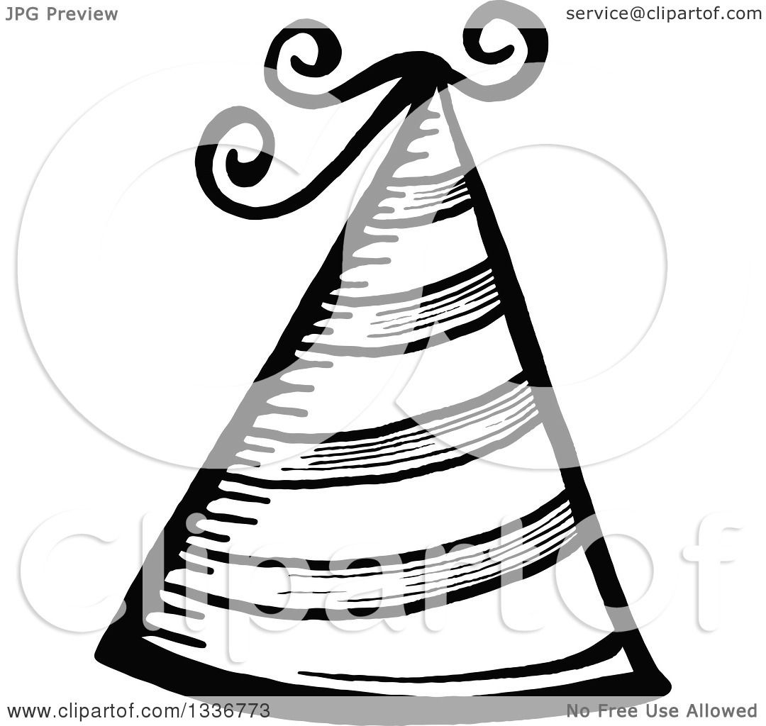 1080x1024 Clipart Of A Sketched Doodle Of A Black And White Party Hat