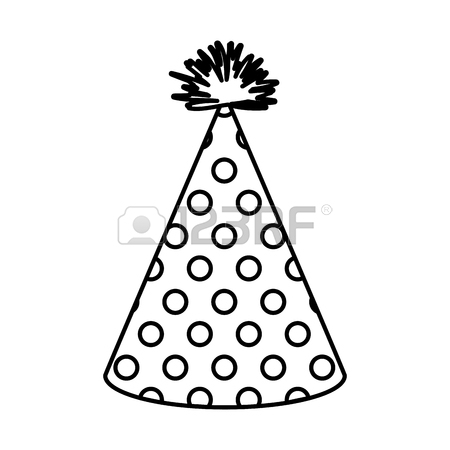 450x450 Hand Drawing Monochrome Party Hat With Several Lines Decoratives