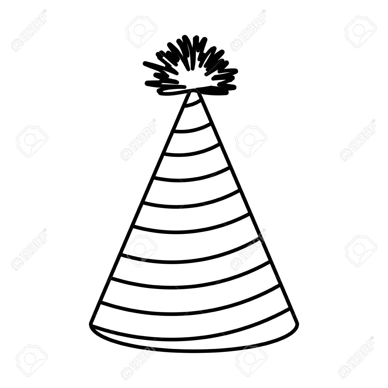 1300x1300 Monochrome Silhouette Of Party Hat With Radial Decorative Lines