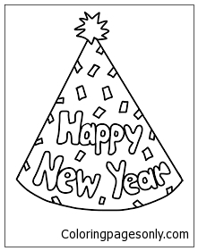 221x281 New Years Party Hat Coloring Page