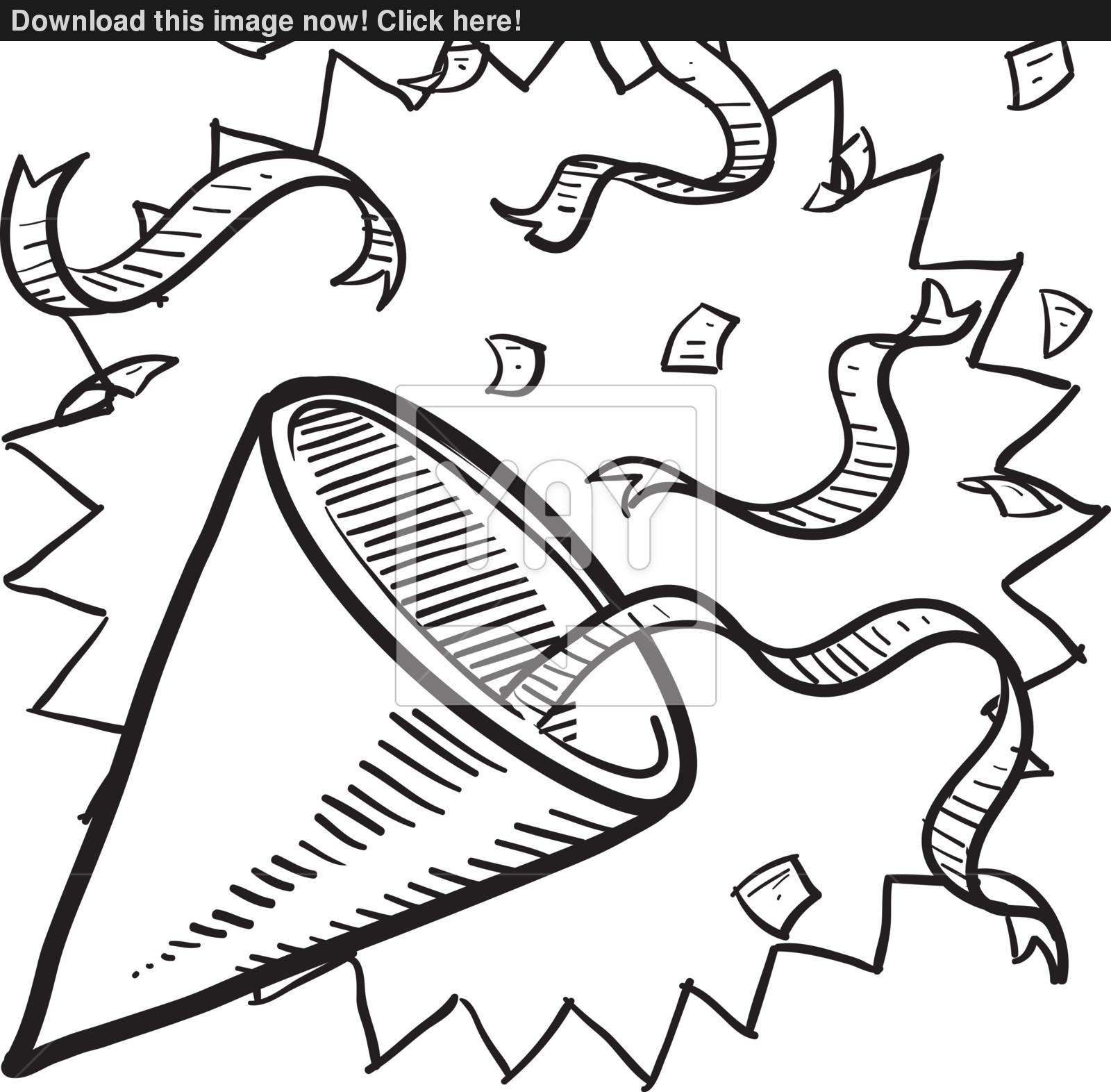 1600x1572 Party Hat With Confetti Sketch Vector