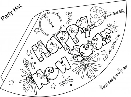 457x338 Print Out Happy New Year Party Hat Coloring For Kids