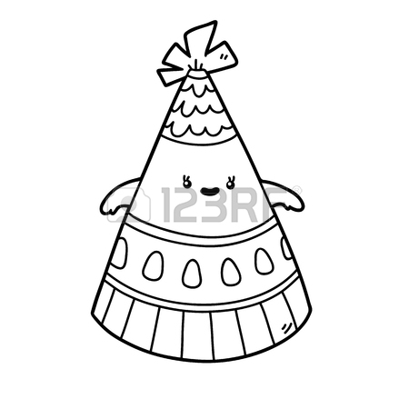 450x450 Vector Illustration Coloring Page Of Happy Cartoon Party Hat