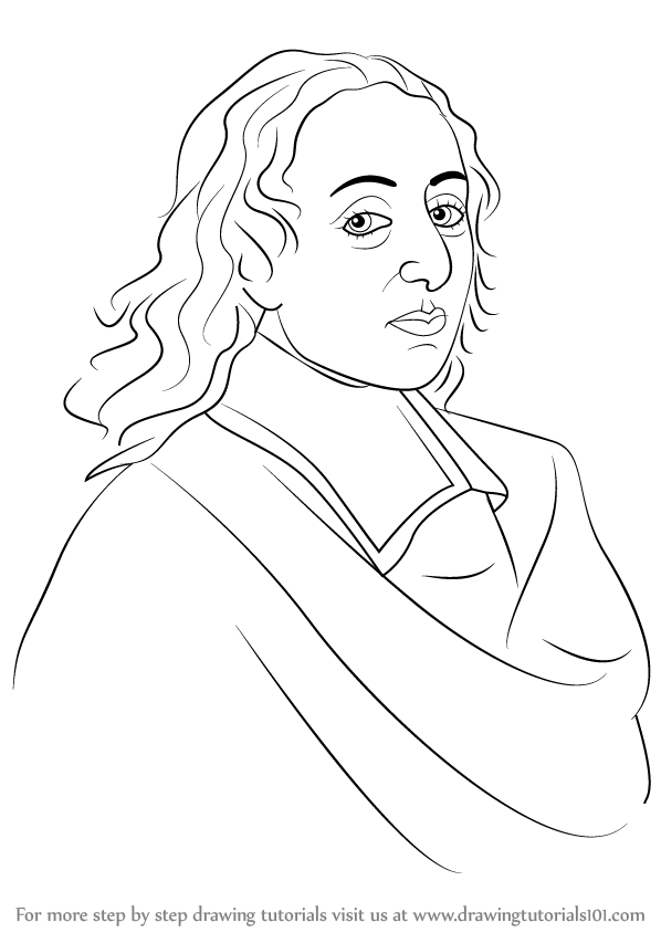 598x844 Learn How To Draw Blaise Pascal (Famous People) Step By Step