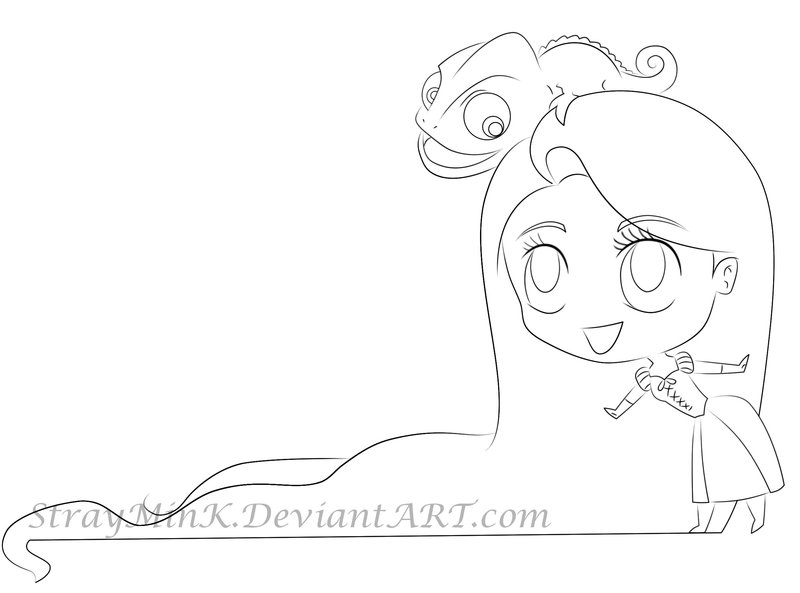 800x593 Rapunzel And Pascal Line Art By Straymink