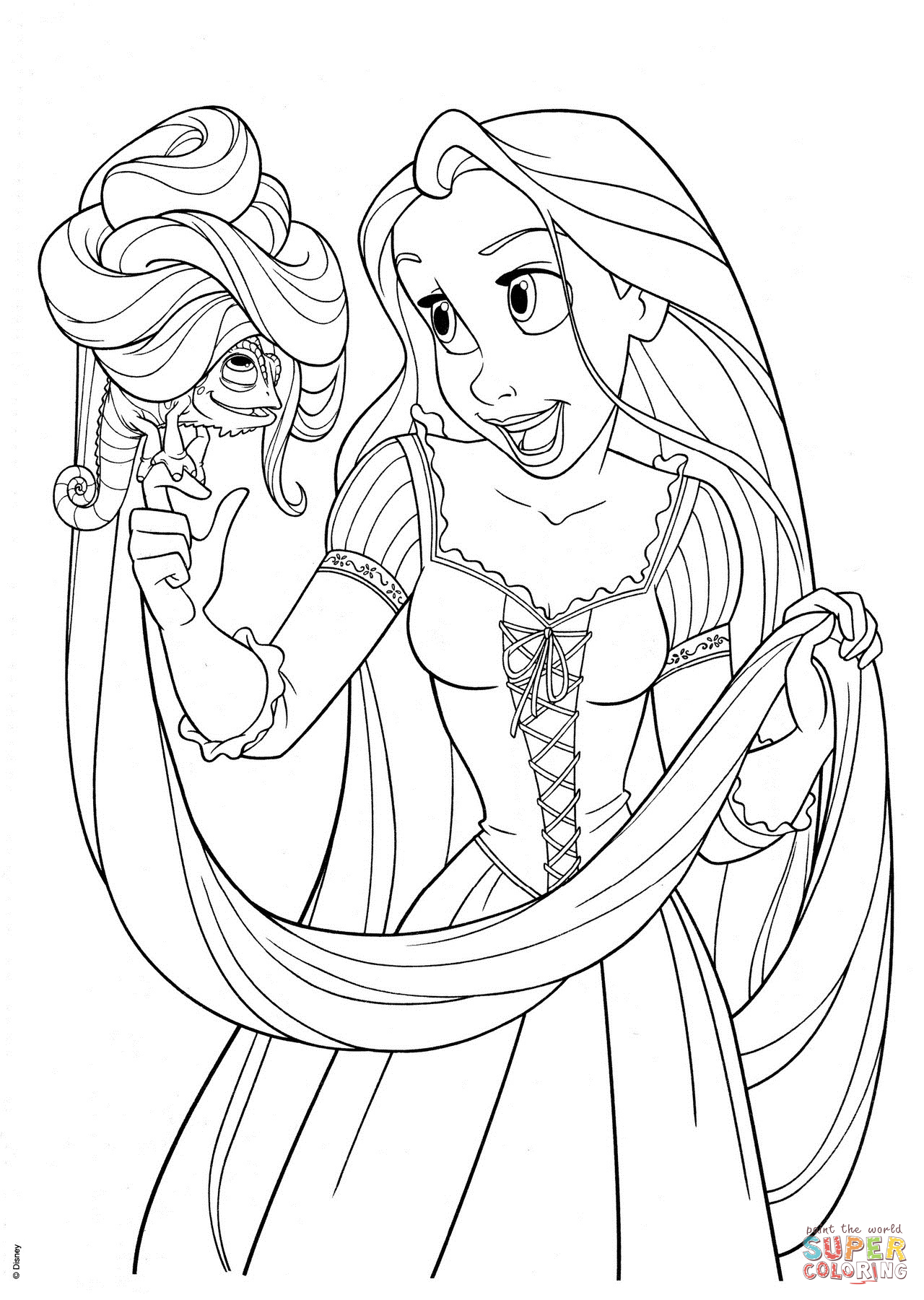 1280x1801 Rapunzel With Pascal Coloring Page Free Printable Coloring Pages