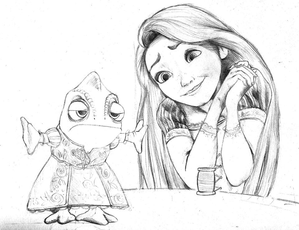 960x740 Sexy Pencil Drawings And Sketching Rapunzel And Pascal