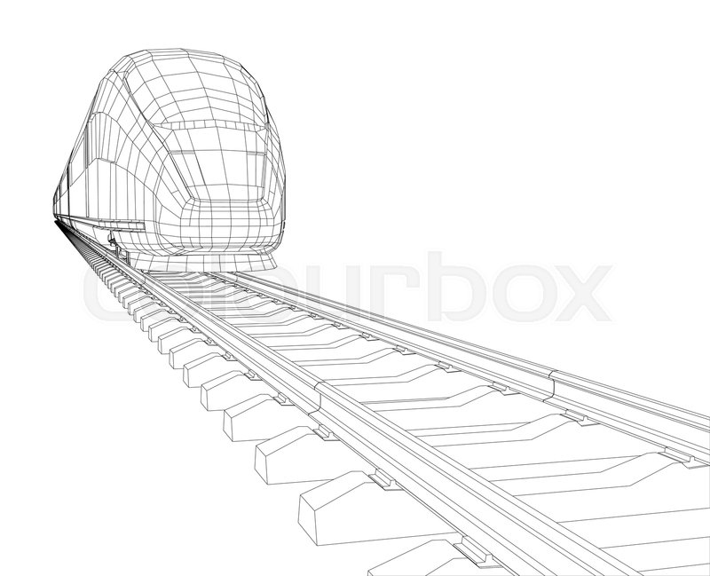 800x649 Abstract Polygonal High Speed Passenger Train. Traveling Concept