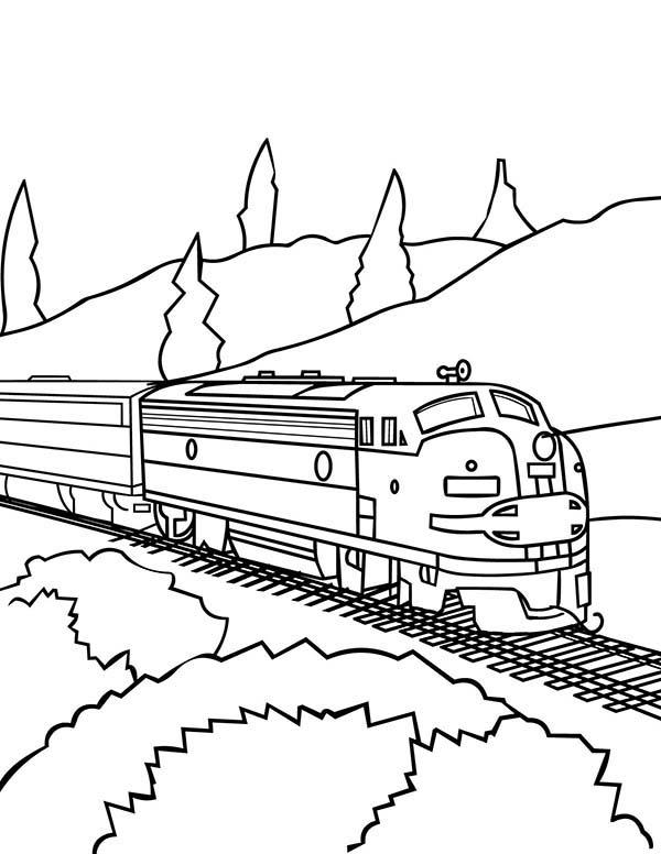 600x776 Model Train On Railroad Coloring Page Color Luna