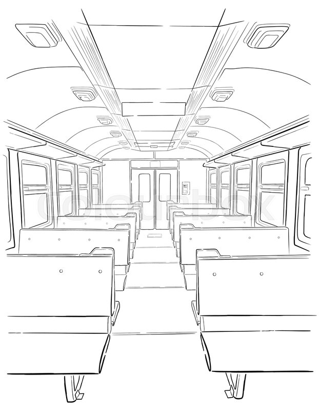 622x800 Vector Sketch Of Passenger Train Interior In Hand Drown