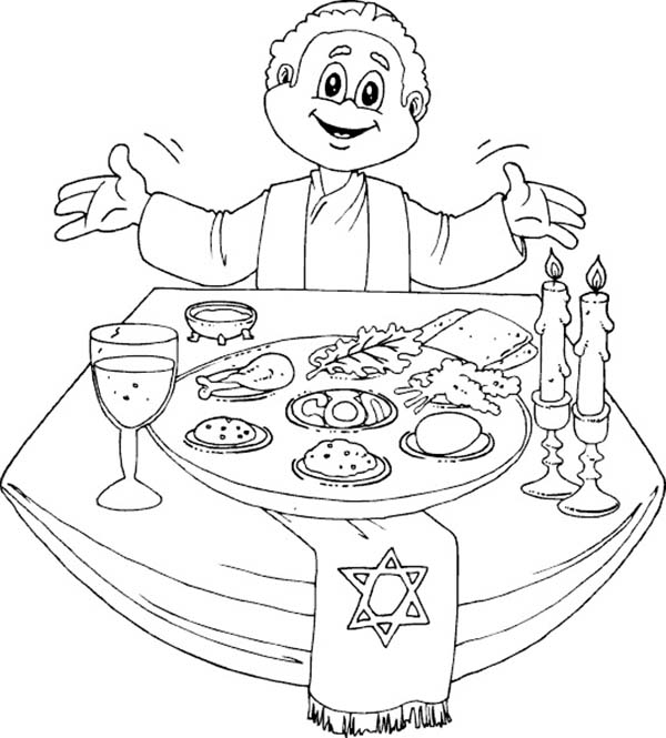 600x665 Having A Happy Passover Dinner Coloring Page