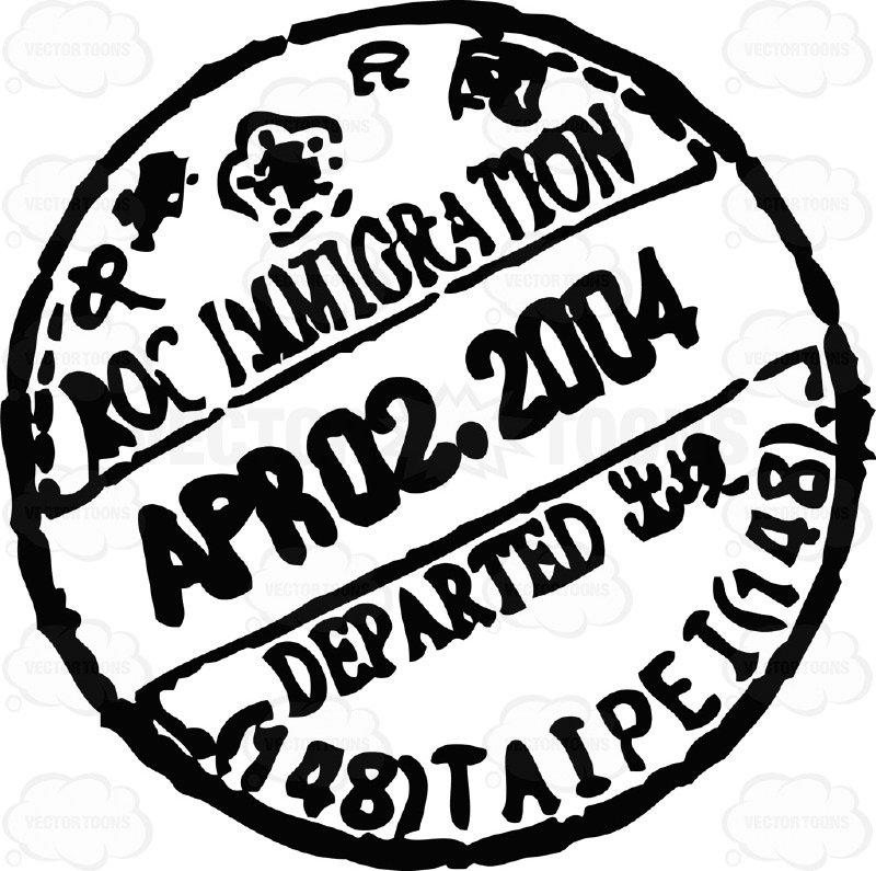 800x795 Passport Travel Stamp Visa Rubber Black Ink Circle Cartoon Clipart