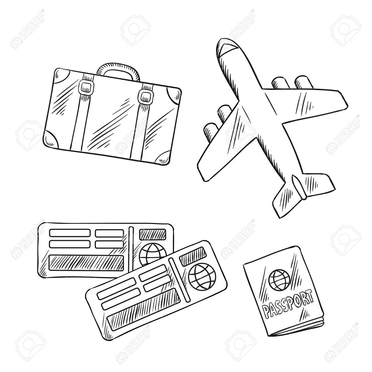 1300x1300 Air Travel Or Vacation Journey Sketch Icons With Airplane, Luggage