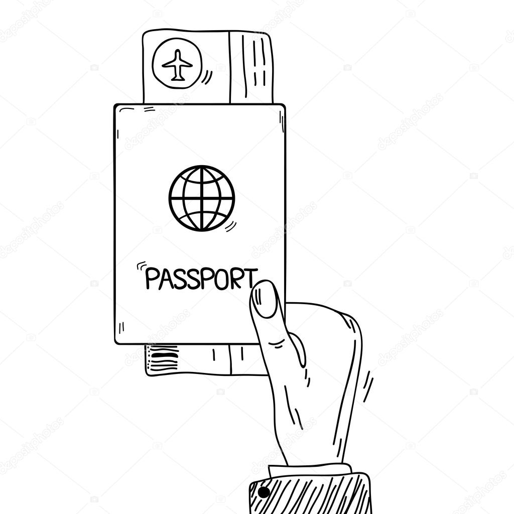 1024x1024 Sketch Hand Holding Passport And Air Tickets Stock Vector