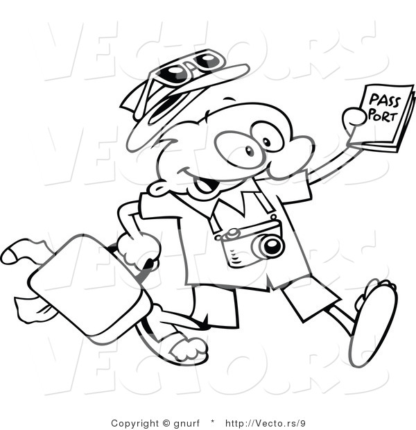 600x620 Vector Line Drawing Of A Happy Cartoon Traveling Guy Carrying