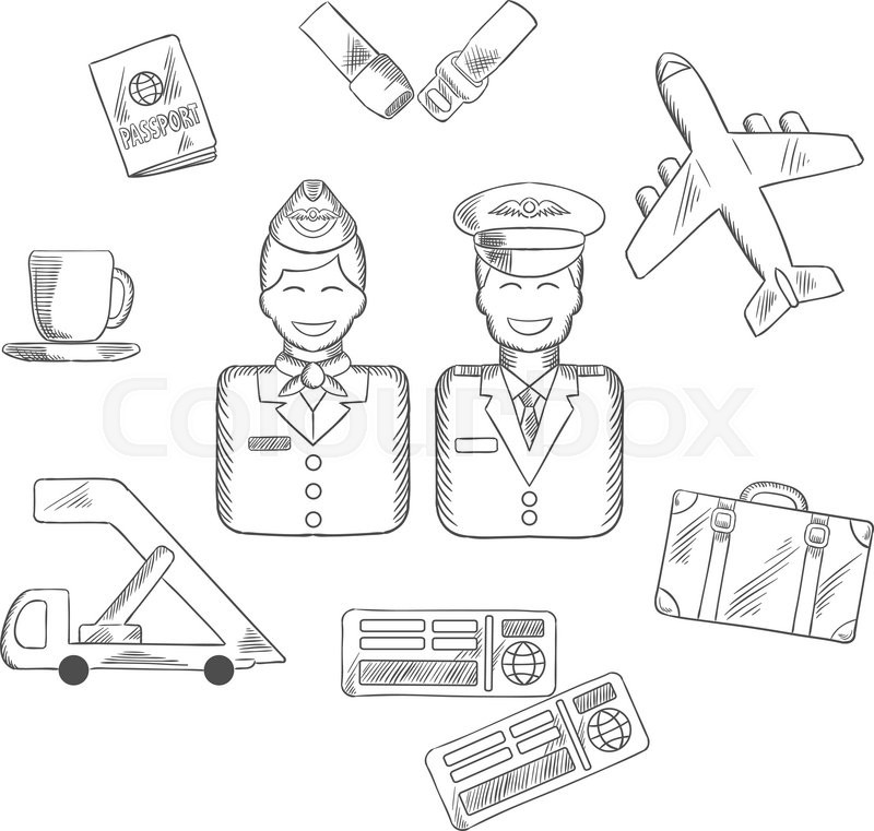 800x761 Air Traveling And Aviation Sketch Icons With Smiling Stewardess