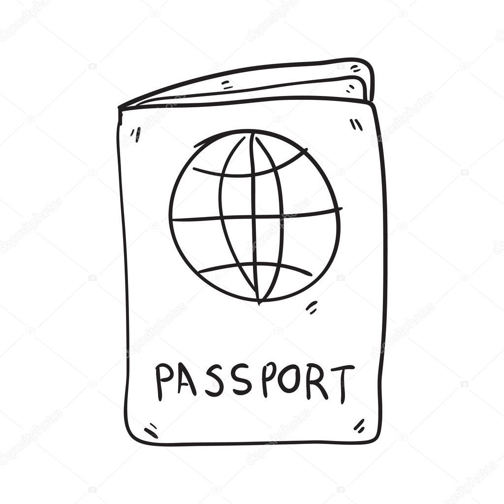 1024x1024 Passport Hand Drawn Vector Illustration Stock Vector