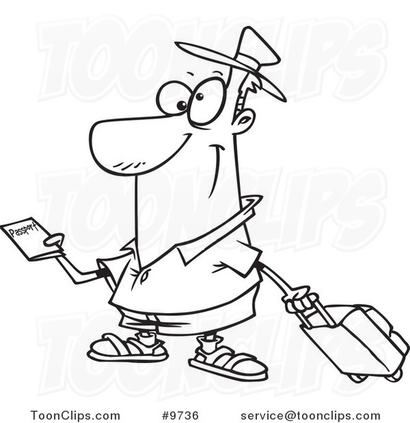 581x600 Cartoon Blacknd White Line Drawing Of Traveler Holding