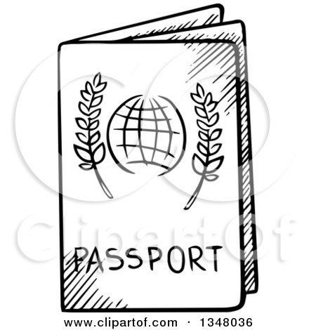 450x470 Clipart Of A Black And White Sketched Passport