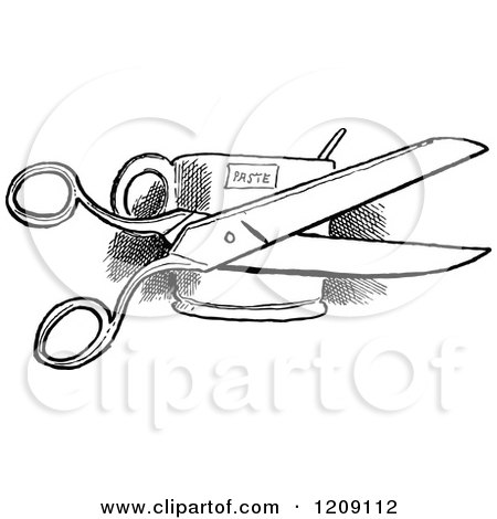 450x470 Clipart Of A Vintage Black And White Pair Of Scissors And Paste