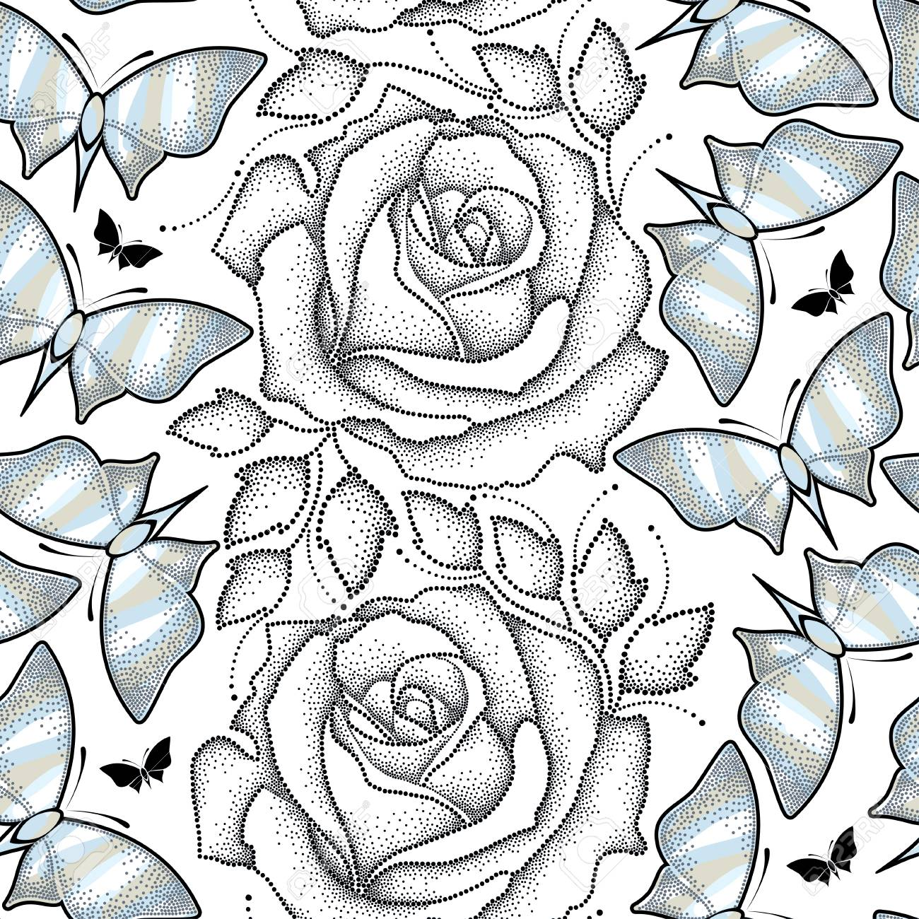 1300x1300 Seamless Pattern With Black Dotted Rose, Leaves And Butterflies