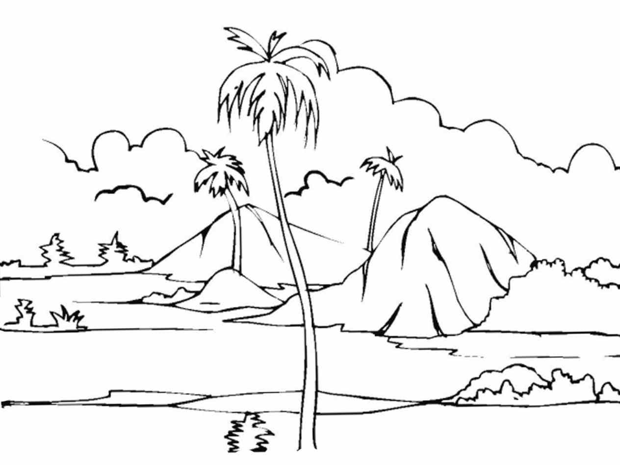 1264x948 Simple Landscape Color Drawing For Kids How To Draw A Landscape