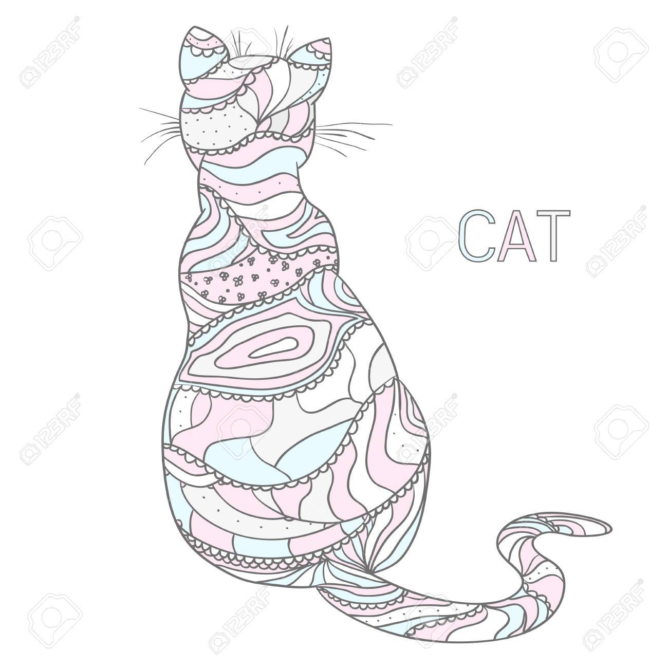 1300x1300 Cat Design Zentangle In Pastel Colors. Hand Drawn Cat
