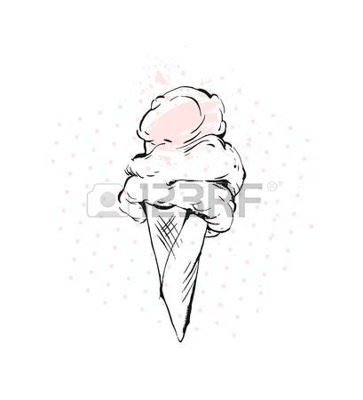 409x450 Hand Drawn Vector Graphic Brush Drawing Ice Cream Cone In Pastel