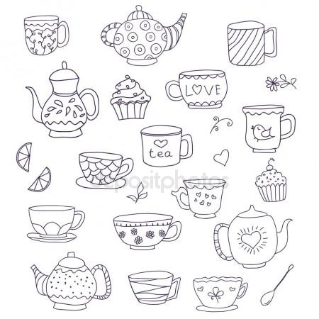 450x450 Set Of Cute Doodle Cups, Teapots And Cupcakes In Pastel Colors