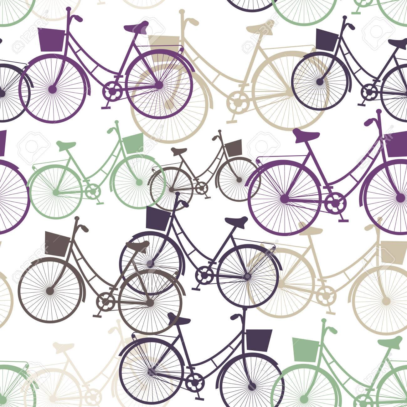 1300x1300 Vintage Bicycles Seamless Pattern, Pastel Colors. Vector