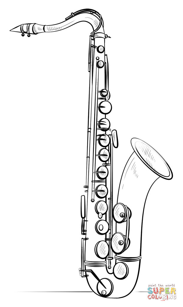 611x1024 Click The Saxophone Coloring Cake Decorations