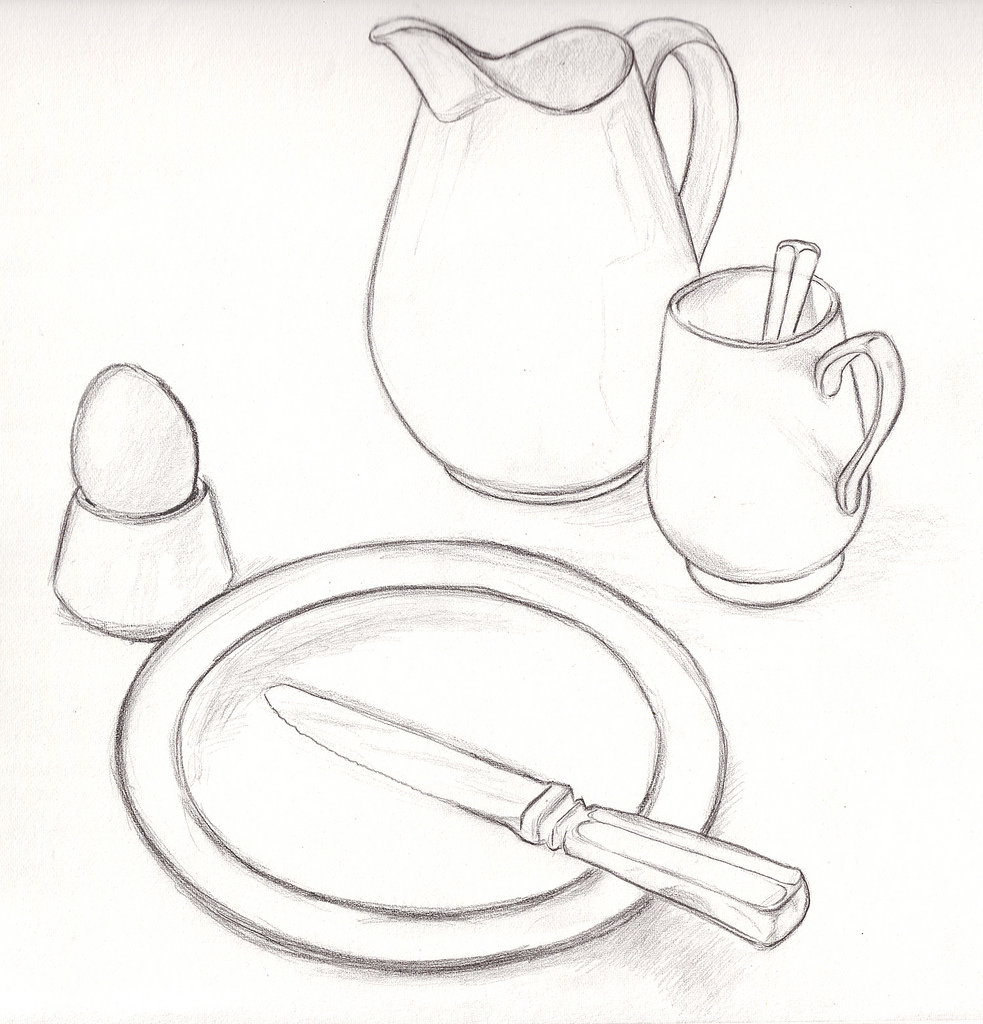 983x1024 Pastel Breakfast Just Waiting For The Toast. Pencil
