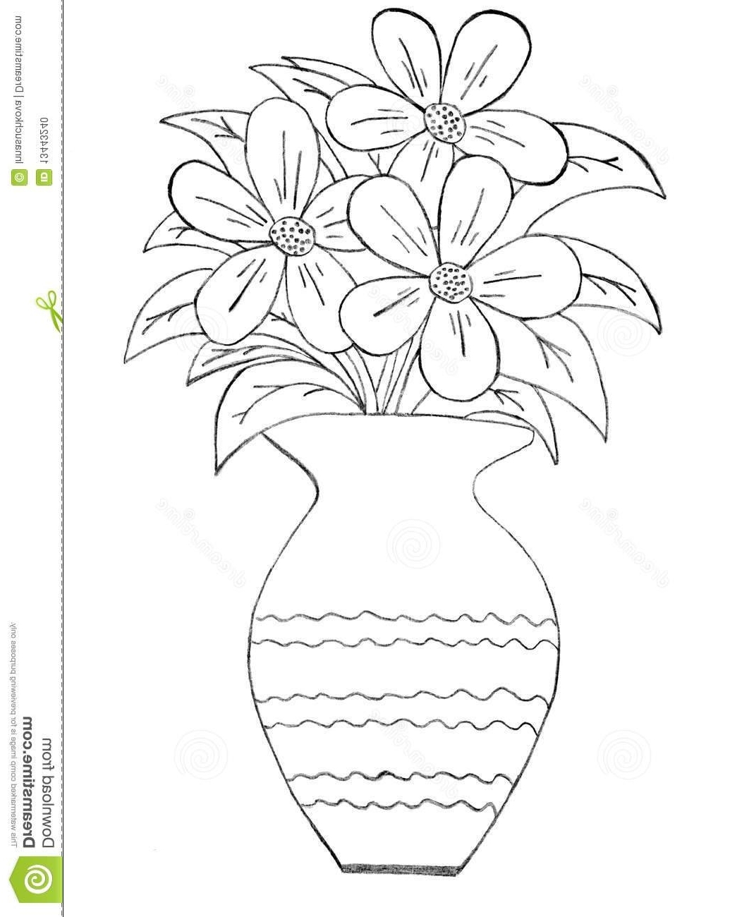 1035x1300 Drawing Of A Flower Vase Drawn Vase Pencil Drawing