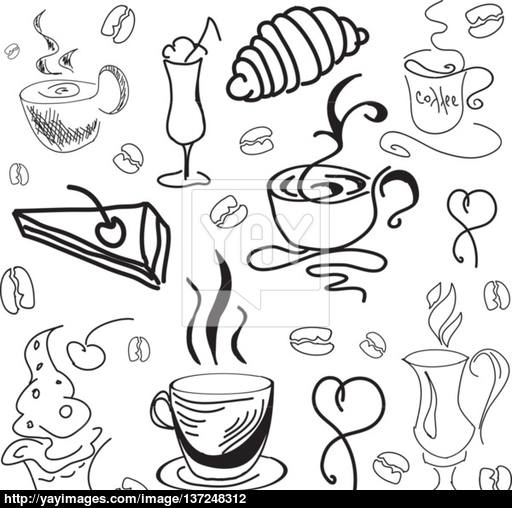 512x508 Drawn Image With Coffee Drinks And Pastry. Vector Illustration